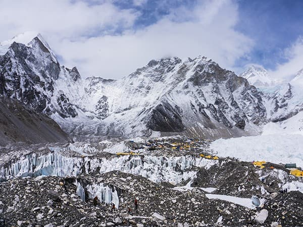 vista del campamento base del everest